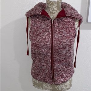 maroon zip-up vest